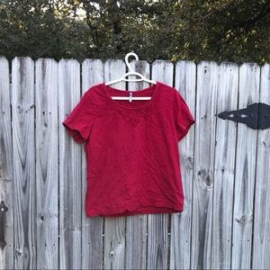 Xl red white stag blouse